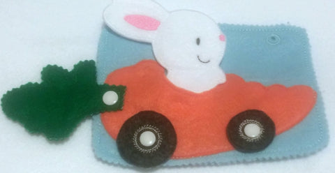 quiet book page - Bunny finger puppet carrot car snap - busy book -  Felt game - Activity play set  - 34