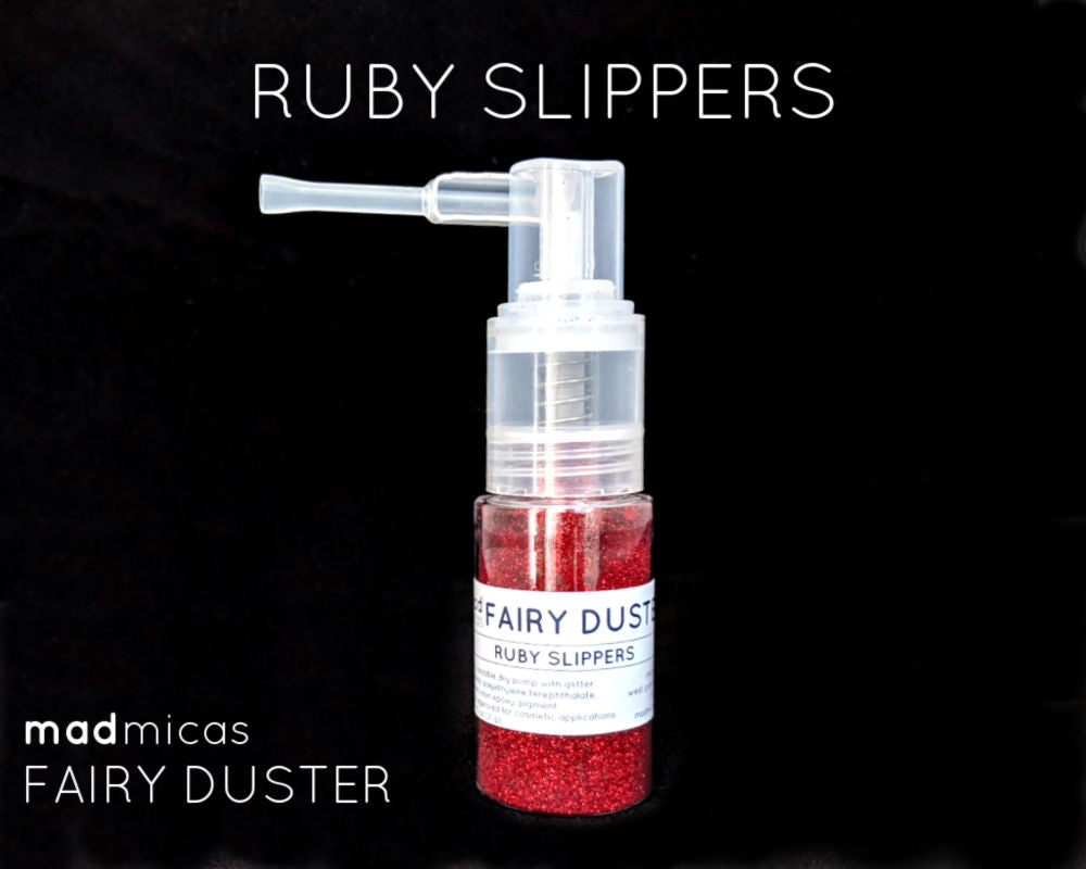 Ruby Slippers red glitter in a dry glitter pump