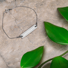 "Load image into Gallery viewer, ""'Persevere"" Engraved Silver Bar Chain Bracelet"