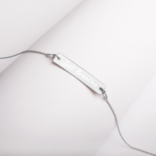 "Load image into Gallery viewer, ""Just Breathe"" Engraved Silver Bar Chain Necklace"