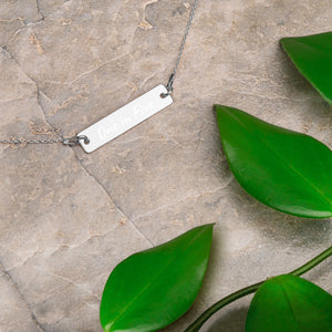 One-in-Five Engraved Silver Bar Chain Necklace