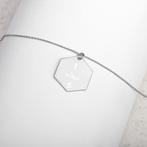 1-in-5 Engraved Silver Hexagon Necklace