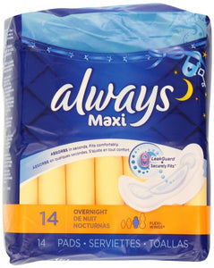 ALWAYS - MAXI OVERNIGHT W/WINGS 14'S - 12CT/CASE