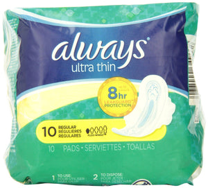 ALWAYS - ULTRA THIN MAX W/WINGS 10'S - 12CT/CASE