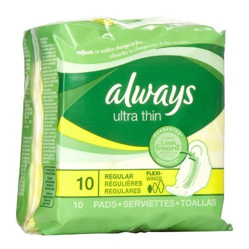 ALWAYS - ULTRA THIN REGULAR W/WINGS 10'S - 12CT/CASE