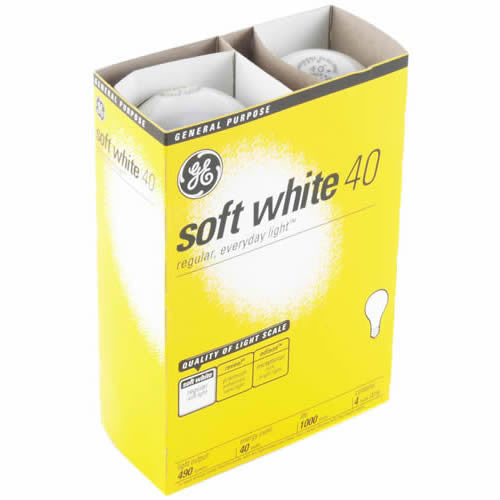 GE - LIGHT BULB - 40 WATT SOFTWHITE - 12CT/4PK/CASE