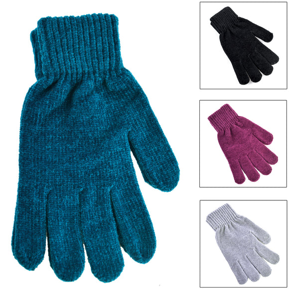 WINTER CHENILLE GLOVE ASSTORTED COLOR - 24/240