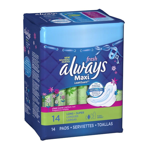 ALWAYS - MAXI FRESH LONG SUPER W/WINGS 14'S - 12CT/CASE