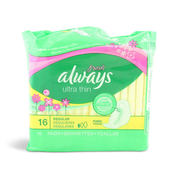 ALWAYS - FRESH ULTRA THIN REGULAR W/WINGS 16'S - 12CT/CASE