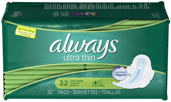 ALWAYS - ULTRA THIN LONG SUPER W/WINGS UNSCENTED 32'S - 6CT/CASE