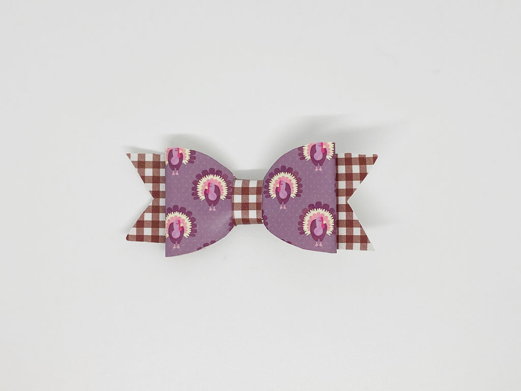 Turkey Day Thanksgiving Plaid Hair Bow or Collar Accessory