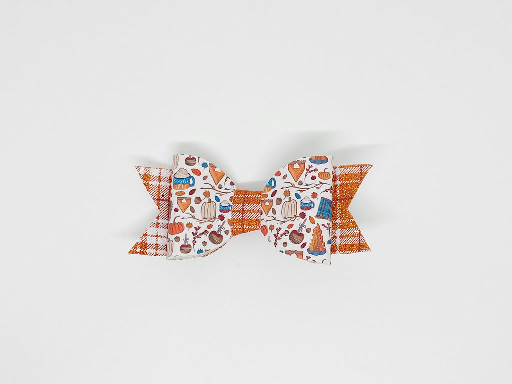 Pumpkin Spice Plaid Hair Bow or Collar Accessory