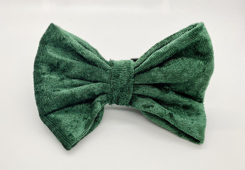 Green Crushed Velvet Bow Tie