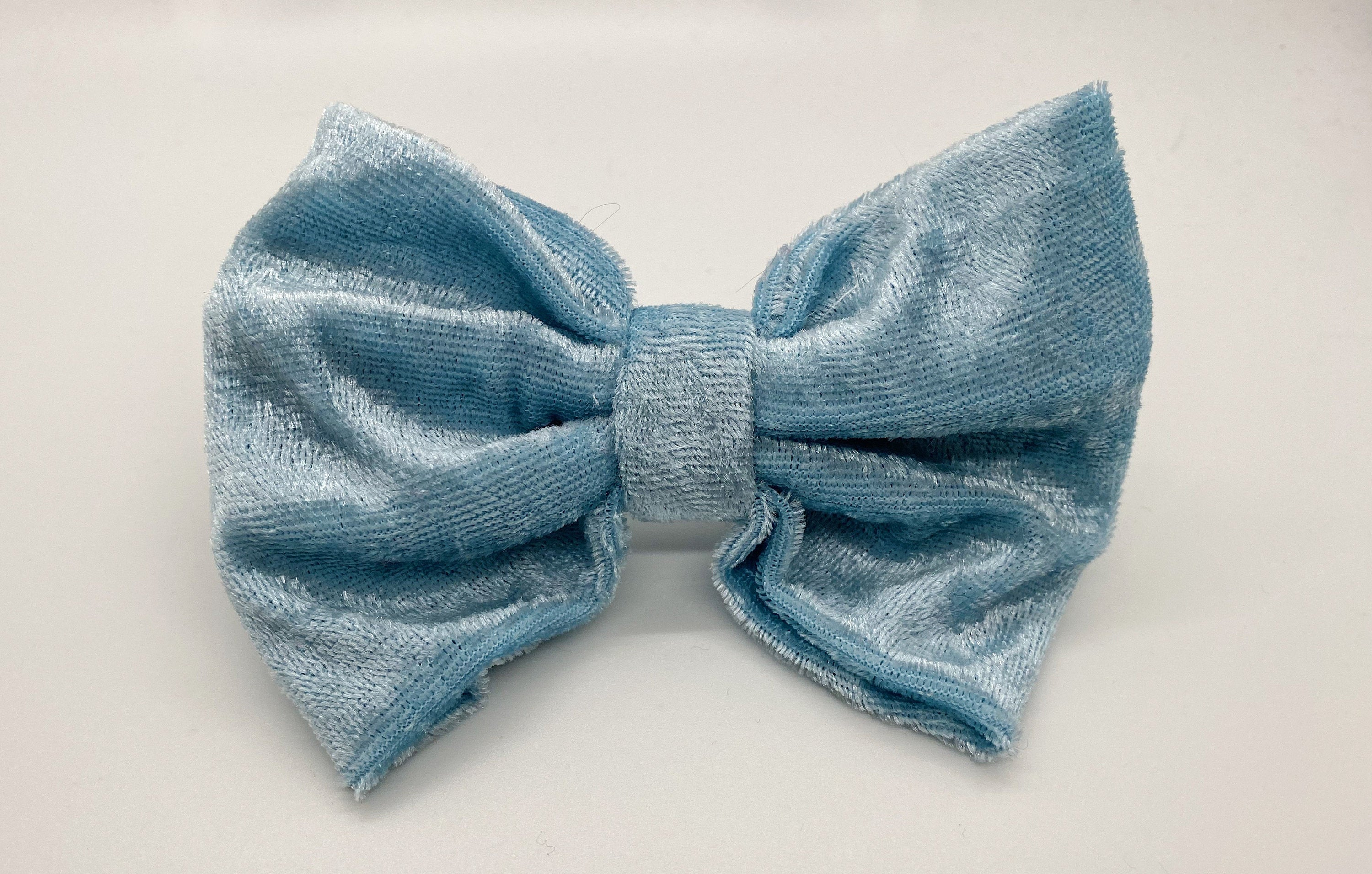 Baby Blue Crushed Velvet Bow Tie