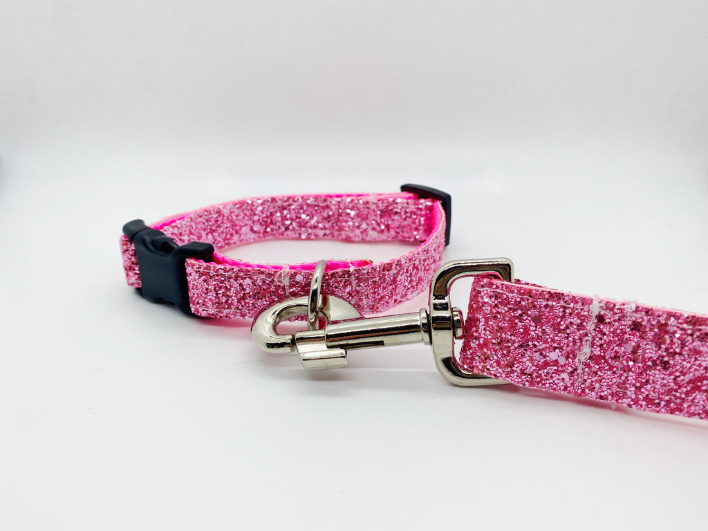 The Princess Piper Collection - Pink Glitter Collar & Leash Set