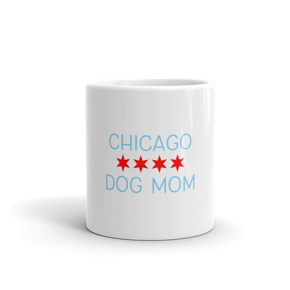 Chicago Dog Mom White glossy mug