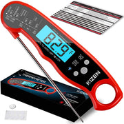 Kizen Instant Read Meat Thermometer Waterproof Ultra Fast Backlight and Calibration for Kitchen Outdoor Cooking BBQ and Grill Red Velvet
