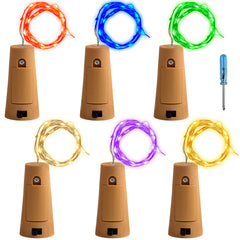 6 Pcs Cork Lights with Screwdriver, AFUNTA Bottle Lights Fairy String LED Lights, 78 Inches / 2 m Copper Wire 20 LED Bulbs for Party Wedding Concert Festival Christmas Tree Decoration - 6 Corlors