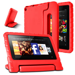 AFUNTA F i r e 7 2015 Case,Light Weight Shock Proof Convertible Handle Stand EVA Protective Kids Case for A m a z o n F i r e 7 inch Display Tablet (5th Generation - 2015 Release Only)-Red