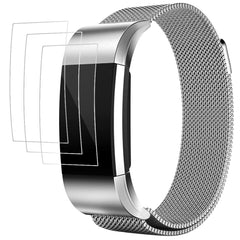 "Band with Screen Protectors for Fitbit Charge 2, AFUNTA 3 Pack Anti-scratch TPU Protective Films, with 1 Magnetic Stainless Steel Wristband Bracelet 5.5"" - 8.8"""