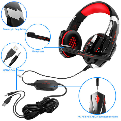 Kotion Each Gs900 Gaming Headset For Xbox 360 One Ps3 Ps4 Pc