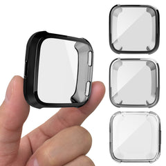 AFUNTA 3PCS Protective Case Compatible Versa Smart Watch, Soft TPU Screen Protector All-Around Bumper Protective Shell Watch Protection - Black, Silver, Clear