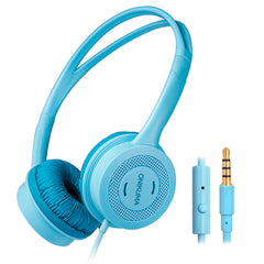ONIKUMA Headphone for Kids Girls Boys, 85db Volume Limited / 3.5mm Audio Jack / Microphone/1.2m Long Cord, AFUNTA Children Ears Headset for Smartphone Tablet PC iPad iPhone School, Age 3-12 (Blue)
