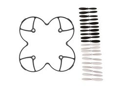 AFUNTA Propeller Blades Protection Guard Cover for Hubson X4 H107L Quadcopter and Propeller Blades Props 5x sets Black / White Propellers for Hubsan X4 H107 H107L H107C H107D Quadcopter