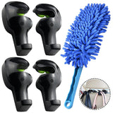 "AFUNTA 4 Set Universal Vehicle Car SUV Back Seat Holder Headrest Hanger Hooks for Bag Purse Cloth Grocery ,with a 14"" Microfiber Washable Car Detail Duster Brush Interior & Exterior Use"