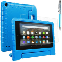 Fire 7 Case with Screen Protector and Stylus, AFUNTA Convertible Handle Stand EVA Protective Case, PET Plastic Cover and Touch Pen for Amazon 7 inch Display Tablet (5th Generation 2015 Release) - Blue