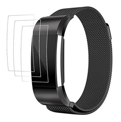 "AFUNTA Fitbit Charge 2 Band with Screen Protectors ,3 Pack Anti-scratch TPU Protective Films, with 1 Magnetic Stainless Steel Wristband Bracelet 5.5"" - 8.8"""