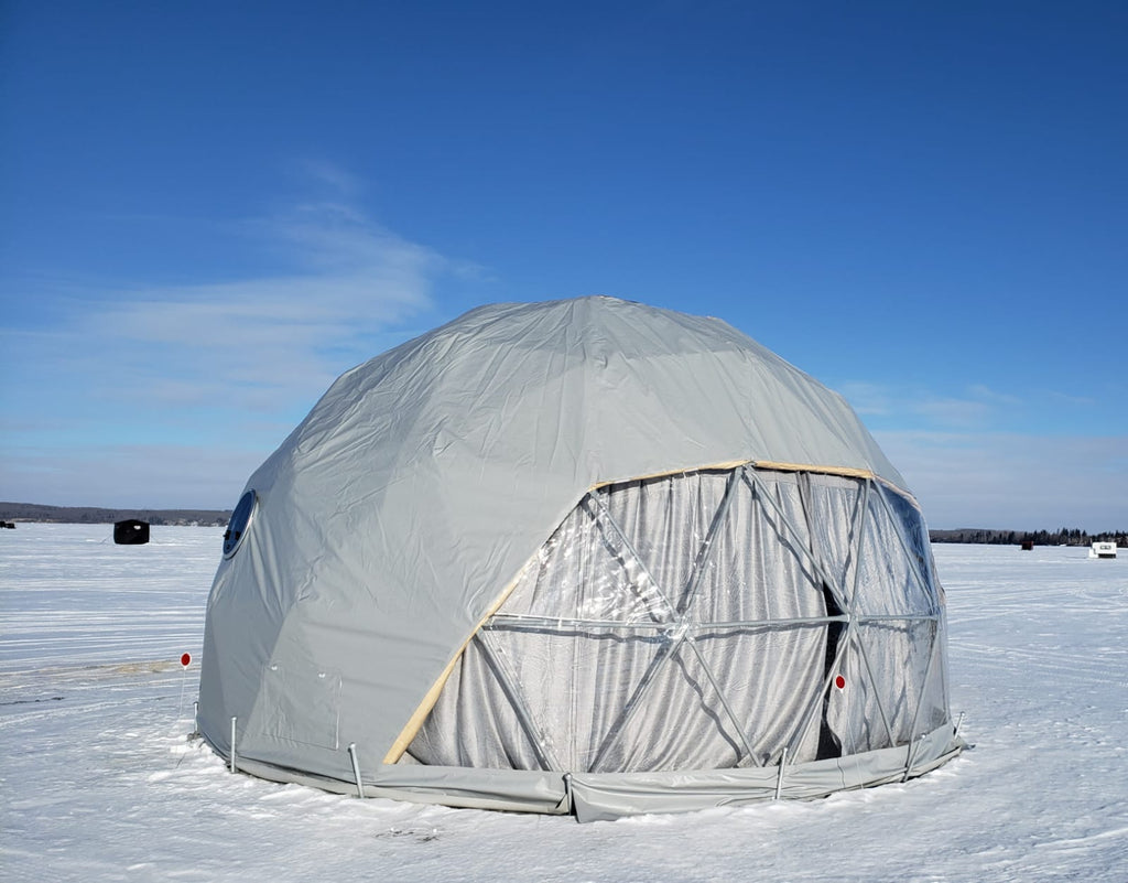 dome on ice, winter geodesic dome