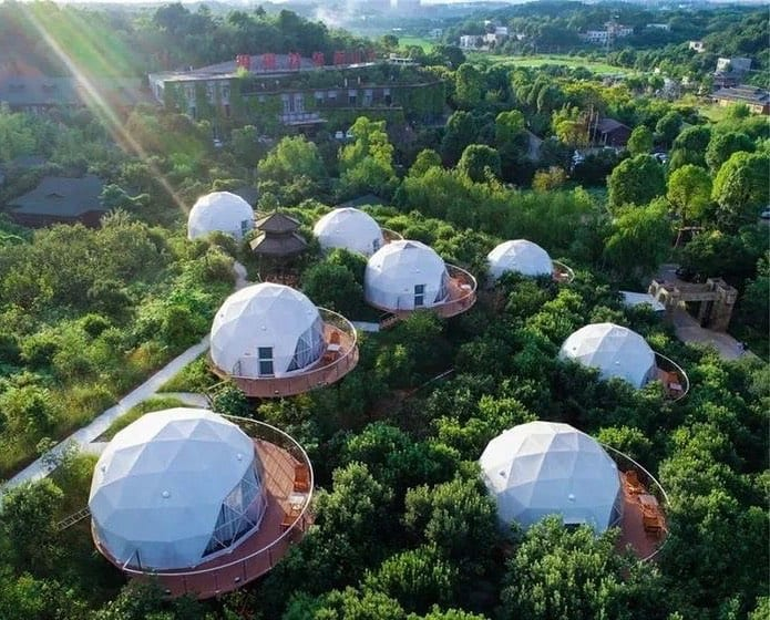 tiny homes geodesic dome community