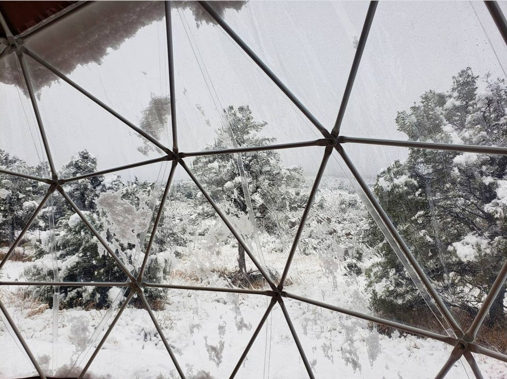 snow and cold panoramic window view