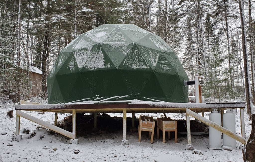 dome tent on deck in winter time