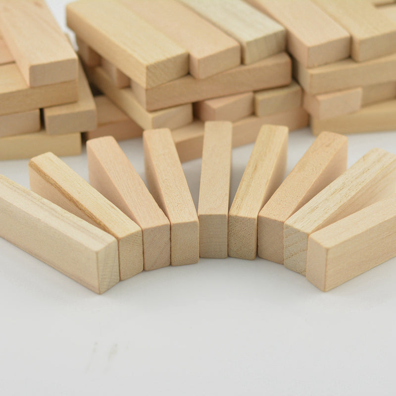 48Pcs Wood Block Carving Natural Wooden 51x16x9mm DIY Model Building Crafts Making Decorations