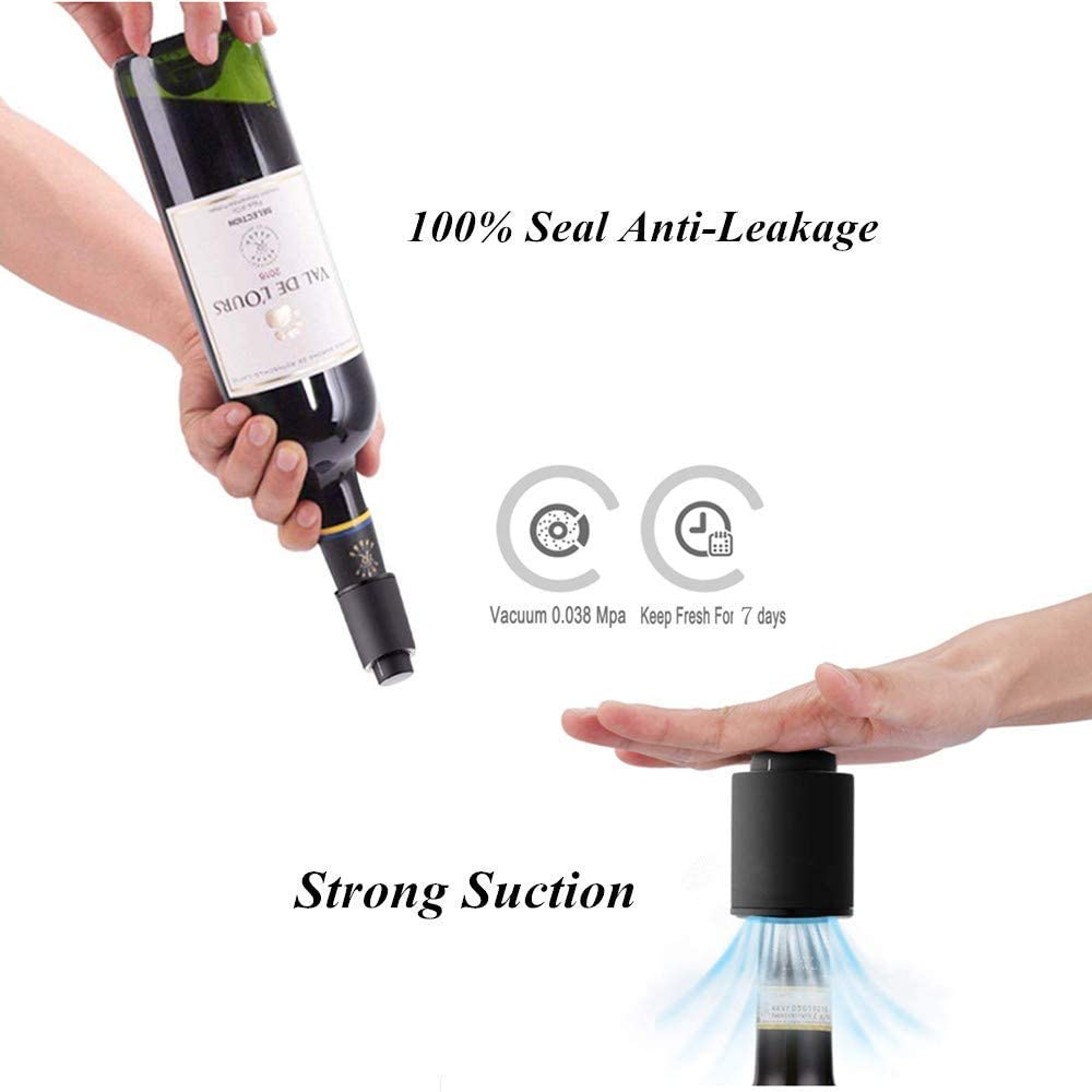 Vacuum Wine Stoppers with Date Scale & Smart Memory Integration