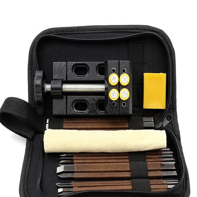 18 PC Wood Carving tools set Chisel wood whittling Kit for hand carving with Bench Vise and Carrying bag