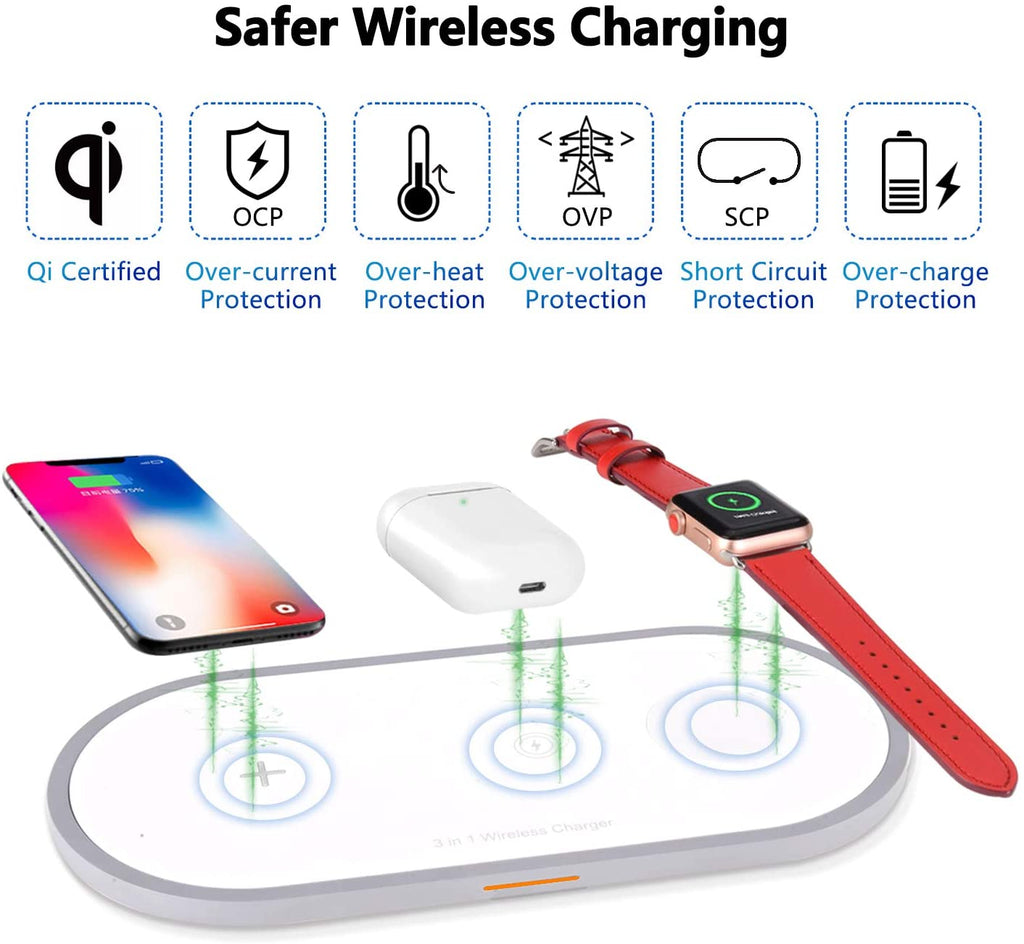 Wireless Charger Pad 3 in 1 for iPhone, Apple Watch and Airpods