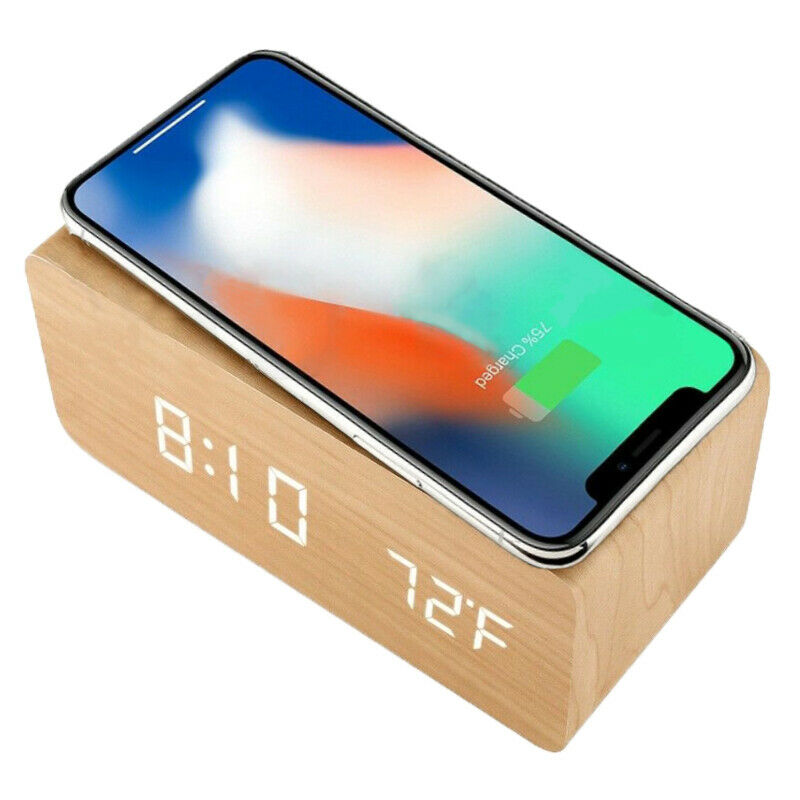 Wooden iPhone and Android Wireless Charger with LED Alarm Clock and temperature display