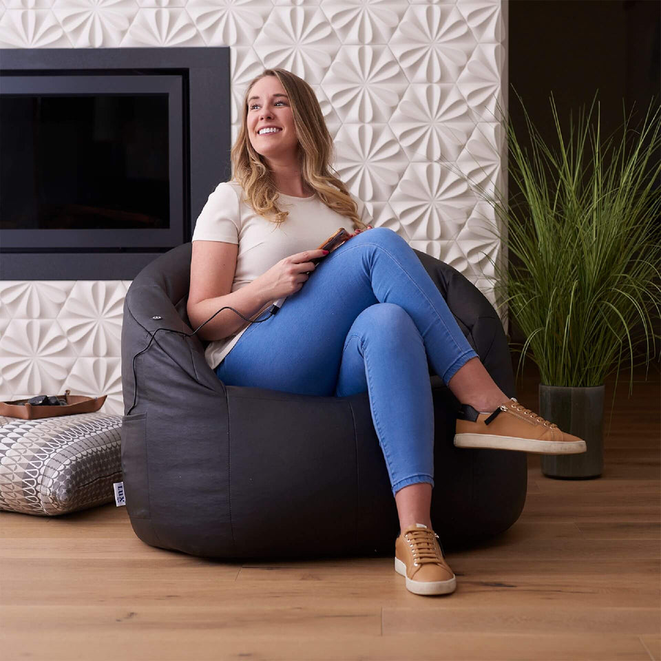 Black Montana Faux Leather Milano Bean Bag Chair with Built In Vibe Massage With Model 0607396