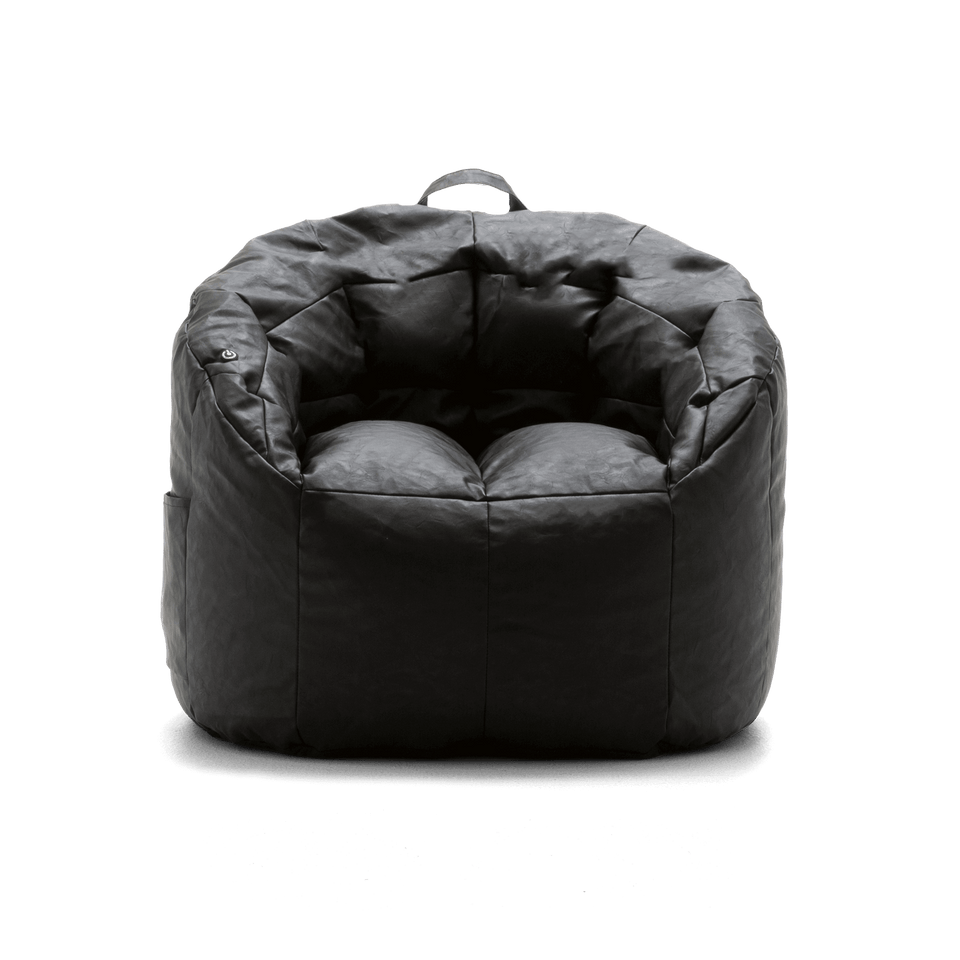 Black Montana Faux Leather Milano with Built In Vibe Bean Bag Chair Massage Front View 0607396