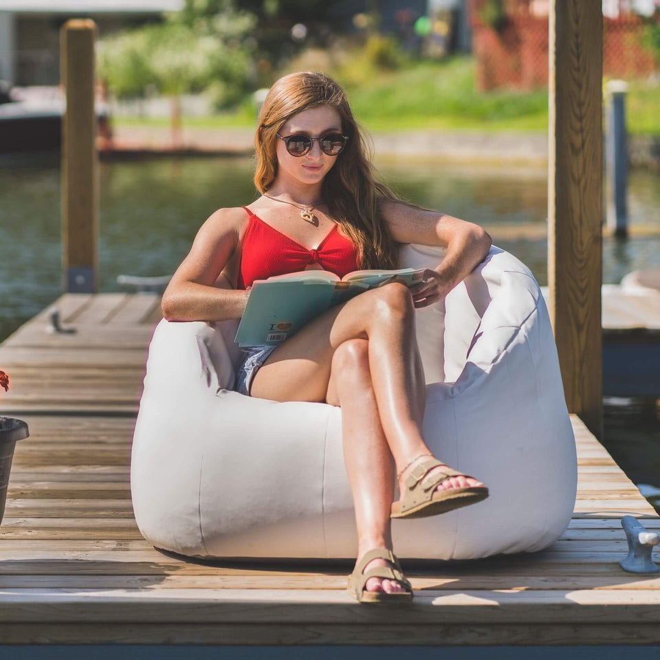 White Marine Outdoor Milano Bean Bag Chair with Model Sitting 0638447