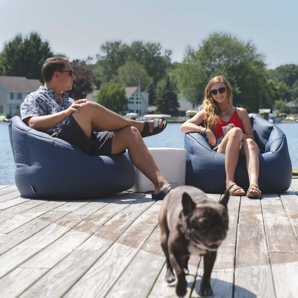 Navy Marine Outdoor Milano Bean Bag Chair with Two Models Relaxing 0638448