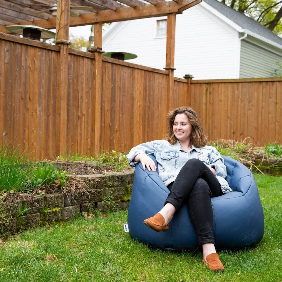 Navy Marine Outdoor Milano Bean Bag Chair with Model Sitting 0638448