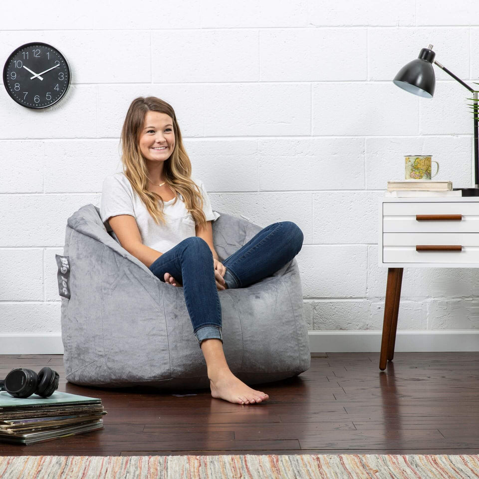 Grey Plush Milano Bean Bag Chair with Model 0638542