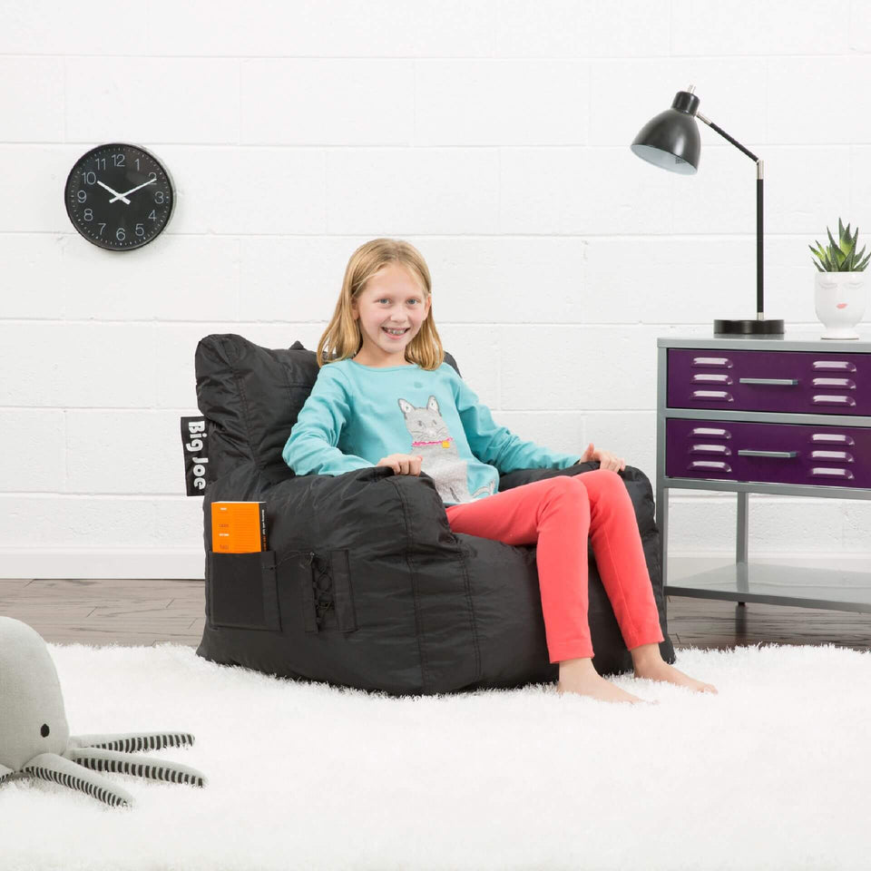 Stretch Limo Black Dorm Chair Bean Bag with Model Sitting 0645602