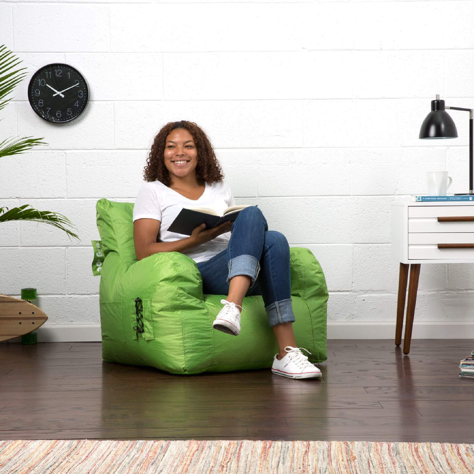 Spicy Lime Dorm Chair Bean Bag with Model Sitting 0645185
