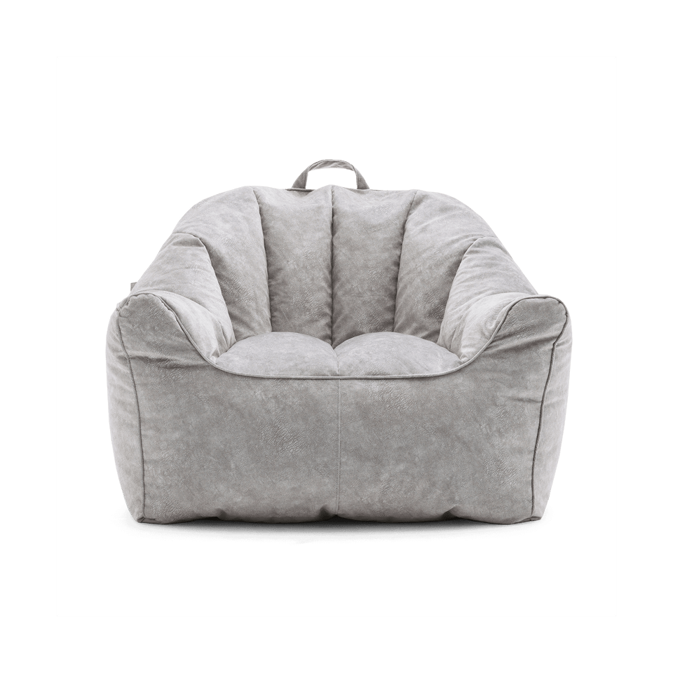 Lunar Gray Hug Chair Bean Bag Front View 0672411