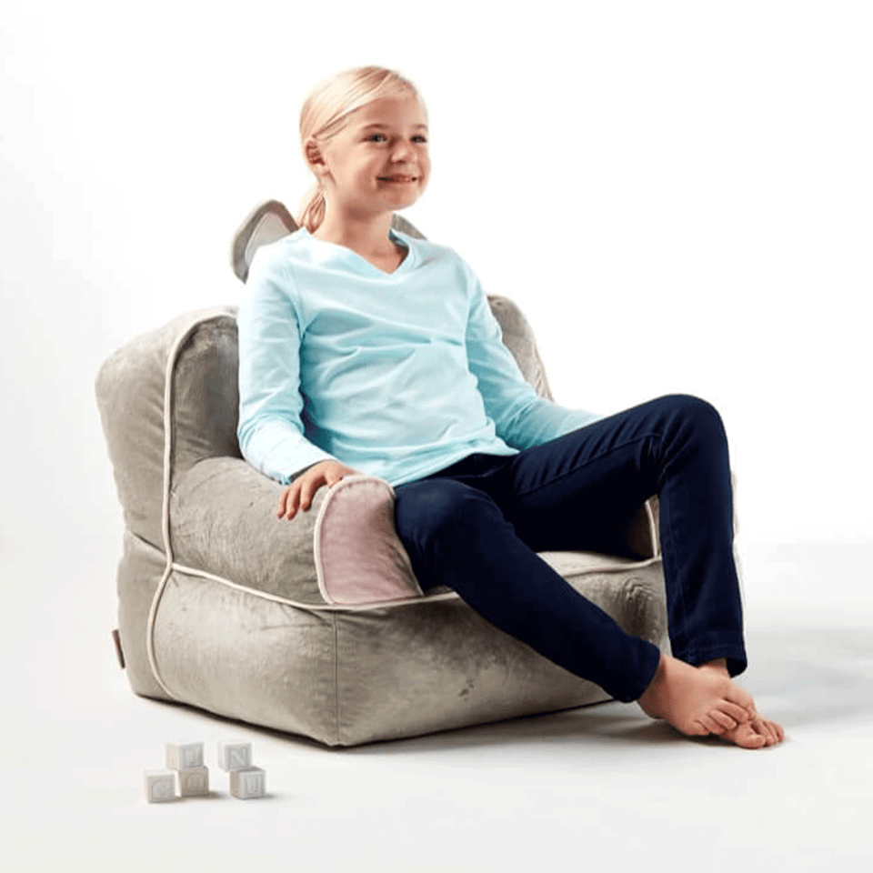 0887674 Bunny Bagimal Kids Bean Bag Chair with model sitting